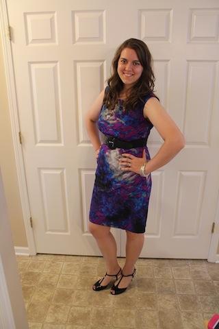 dress with belt/JC Penney; shoes/Loft