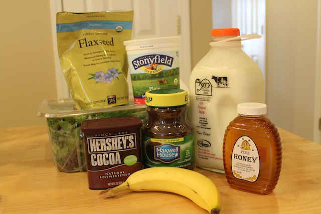 ingredients for a real foods banana mocha smoothie