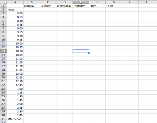 how to change the time intervals on excel template