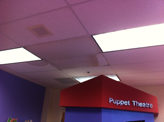 leaking ceiling in the library
