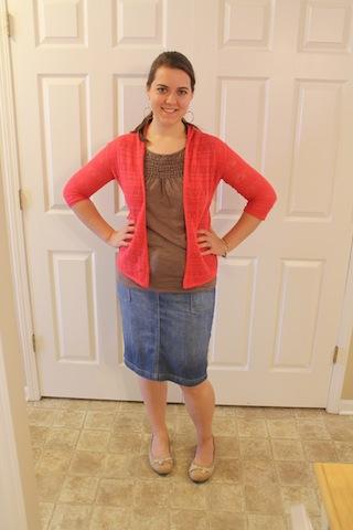 blue jean skirt, brown top, coral cardigan