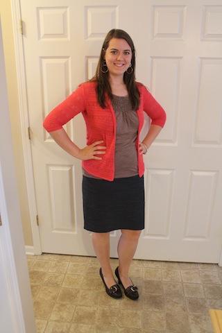 navy skirt, brown top, coral cardigan