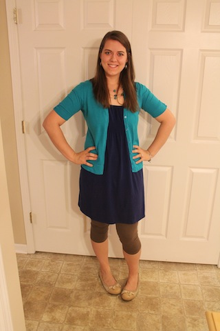 blue dress, tan leggings, and turquoise cardigan