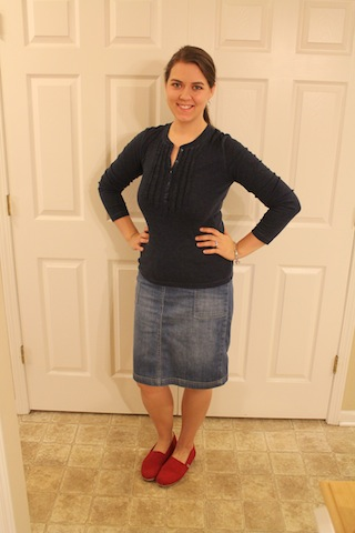 jean skirt, Toms, blue top