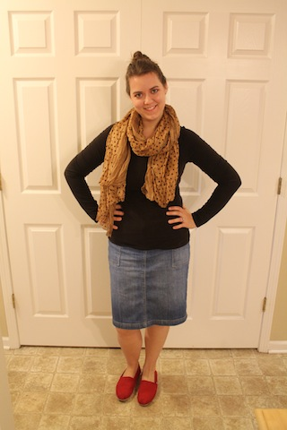 blue jean skirt, red Toms, brown shirt, brown polka dot scarf
