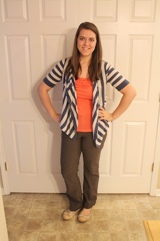 brown pants, coral tank, blue and cream striped cardigan