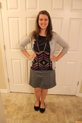 gray skirt, purple shirt, gray cardigan