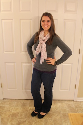 jeans, gray long sleeved shirt, floral scarf