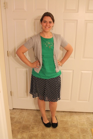navy striped skirt, green top, gray cardigan