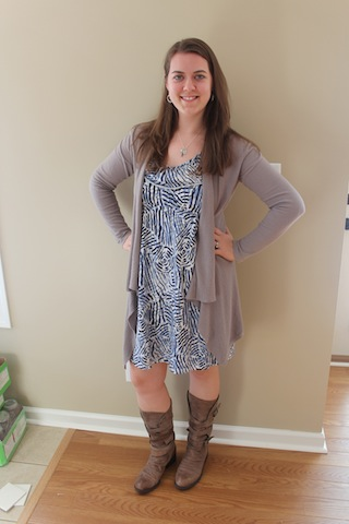 dress, long cardigan, and boots