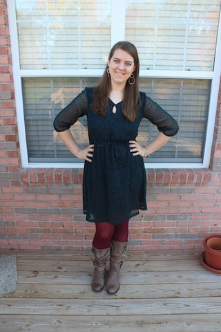 polka dot Old Navy dress, burgundy tights, brown boots