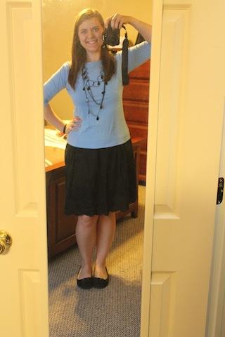 black skirt, blue shirt