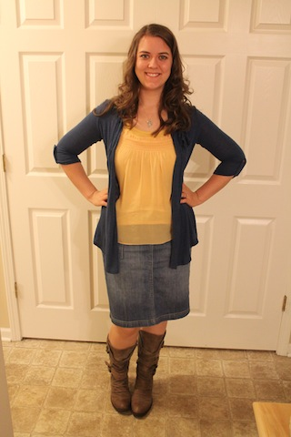 jean skirt, brown boots, yellow tank, blue cardigan