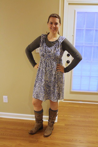 blue and grey dress, boots, gray shirt
