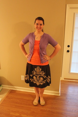 brown skirt, coral tank, lavender cardigan
