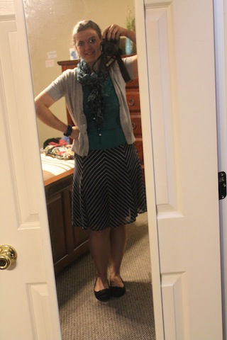 navy striped skirt; turquoise top, gray cardigan