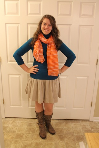 turquoise sweater, orange scarf, tan skirt, boots