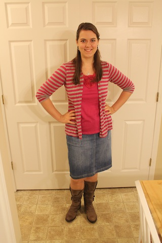 pink and gray shirt/sweater combo, jean skirt, brown bookts