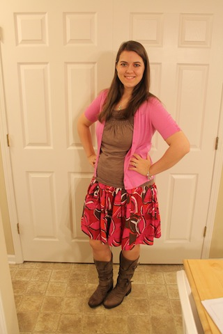 pink cardigan, brown Loft tank, red floral skirt, boots