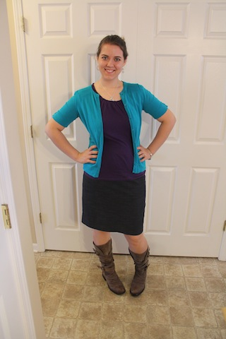 purple top, turquoise cardigan, navy skirt; brown boots