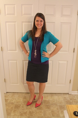 blue skirt, purple tank, turquoise cardigan, pink heels