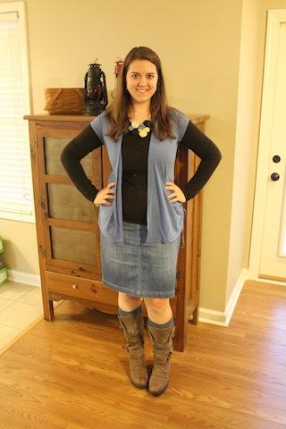 jean shirt, brown shirt, blue vest, boots