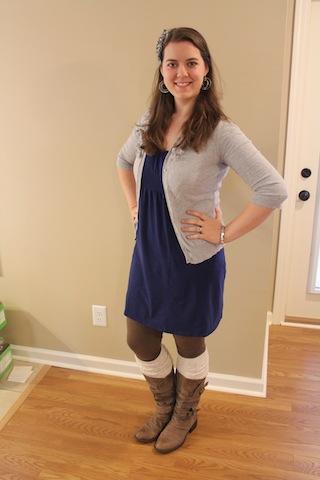 blue dress, gray cardigan, brown leggings, boot socks, boots