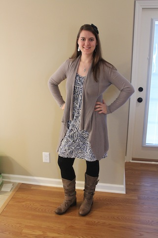 brown sweater, black and blue dress, black tights, brown boots