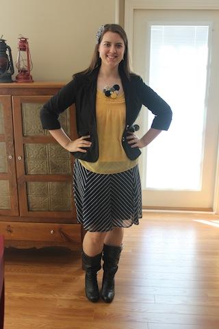 navy skirt, yellow shirt, blazer, black boots, Love Stitched necklace