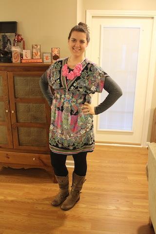 printed dress with leggings