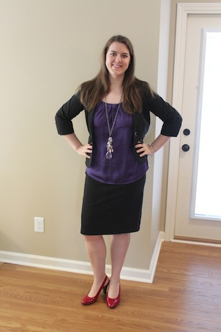 black skirt, black blazer, purple top