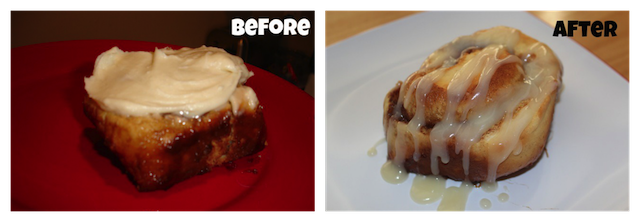 cinnamon roll before and after