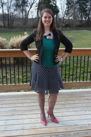 teal and navy church outfit
