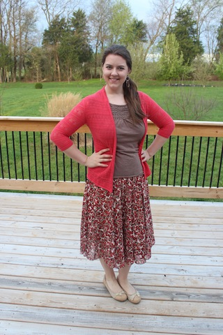 modest coral and brown