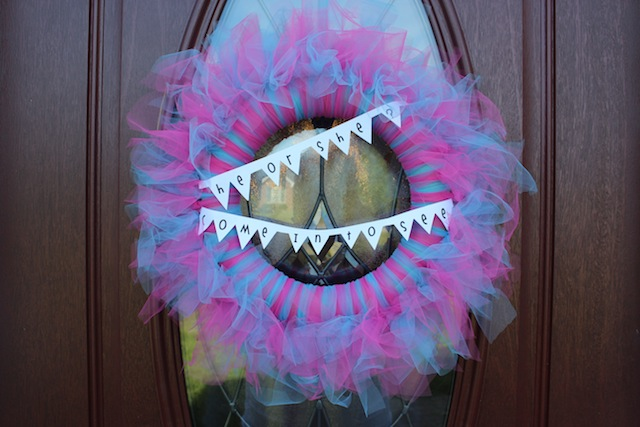 gender reveal tulle wreath