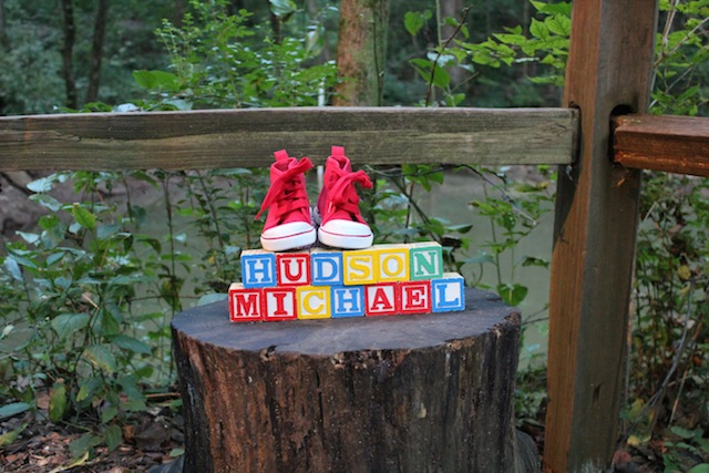 name blocks with shoes on stump