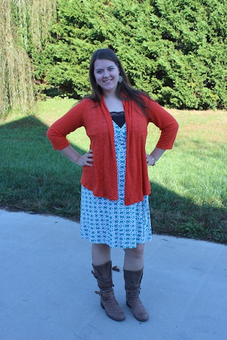 orange and turquoise fall outfit