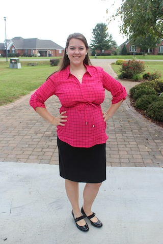 pink checked Motherhood Maternity shirt
