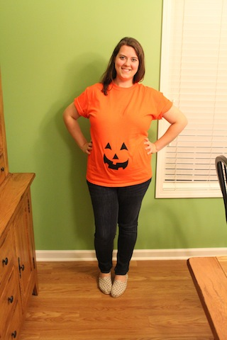 pumpkin maternity shirt - 27 week pregnancy update