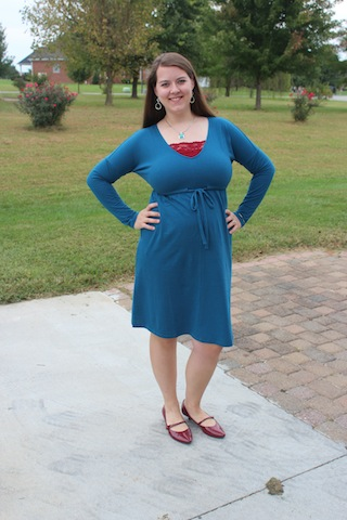 teal Old Navy dress - pregnancy fashion
