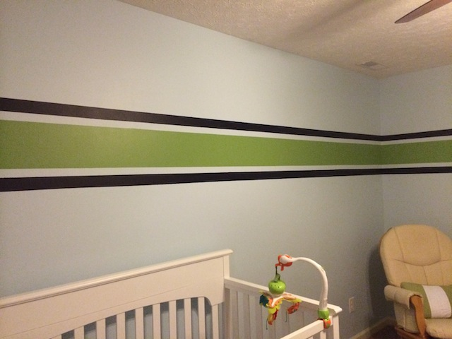 completed navy and green stripe in nursery