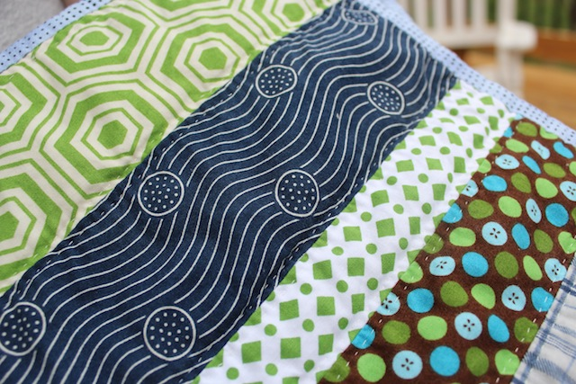 navy and green baby quilt quilting