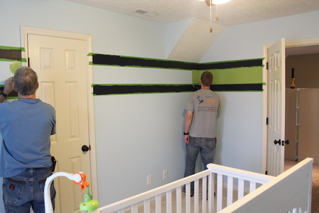 painting stripes in nursery