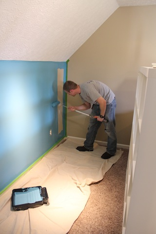 painting the turquoise half wall