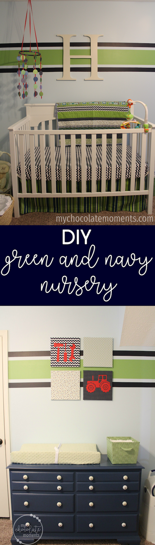 DIY green and navy nursery