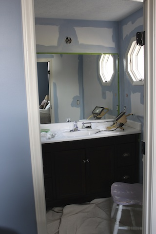bathroom being painted