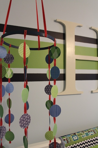 green and navy nursery mobile