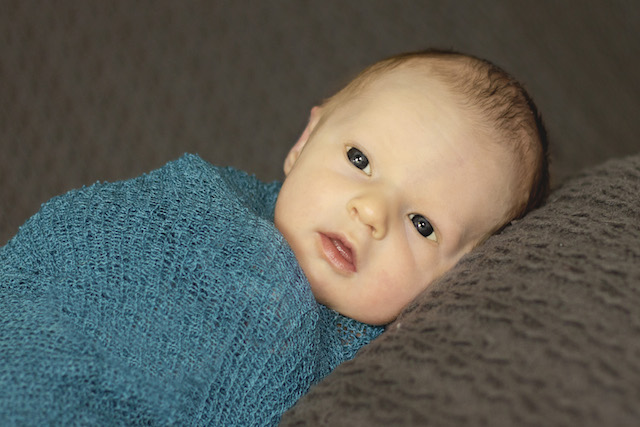 newborn pictures - teal swaddle