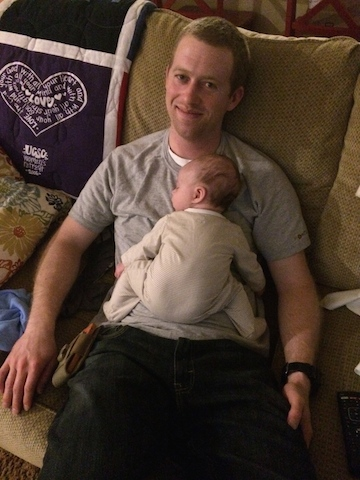 snuggling with daddy