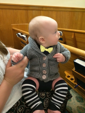 baby cardigan and bow tie